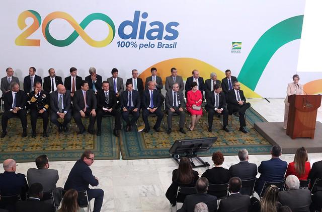 Ministra discursa durante o evento no Palácio do Planalto