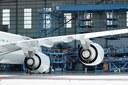 Aeronave em hangar