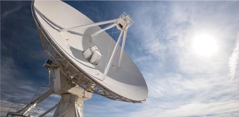 Imagem de uma estação receptora de satélite