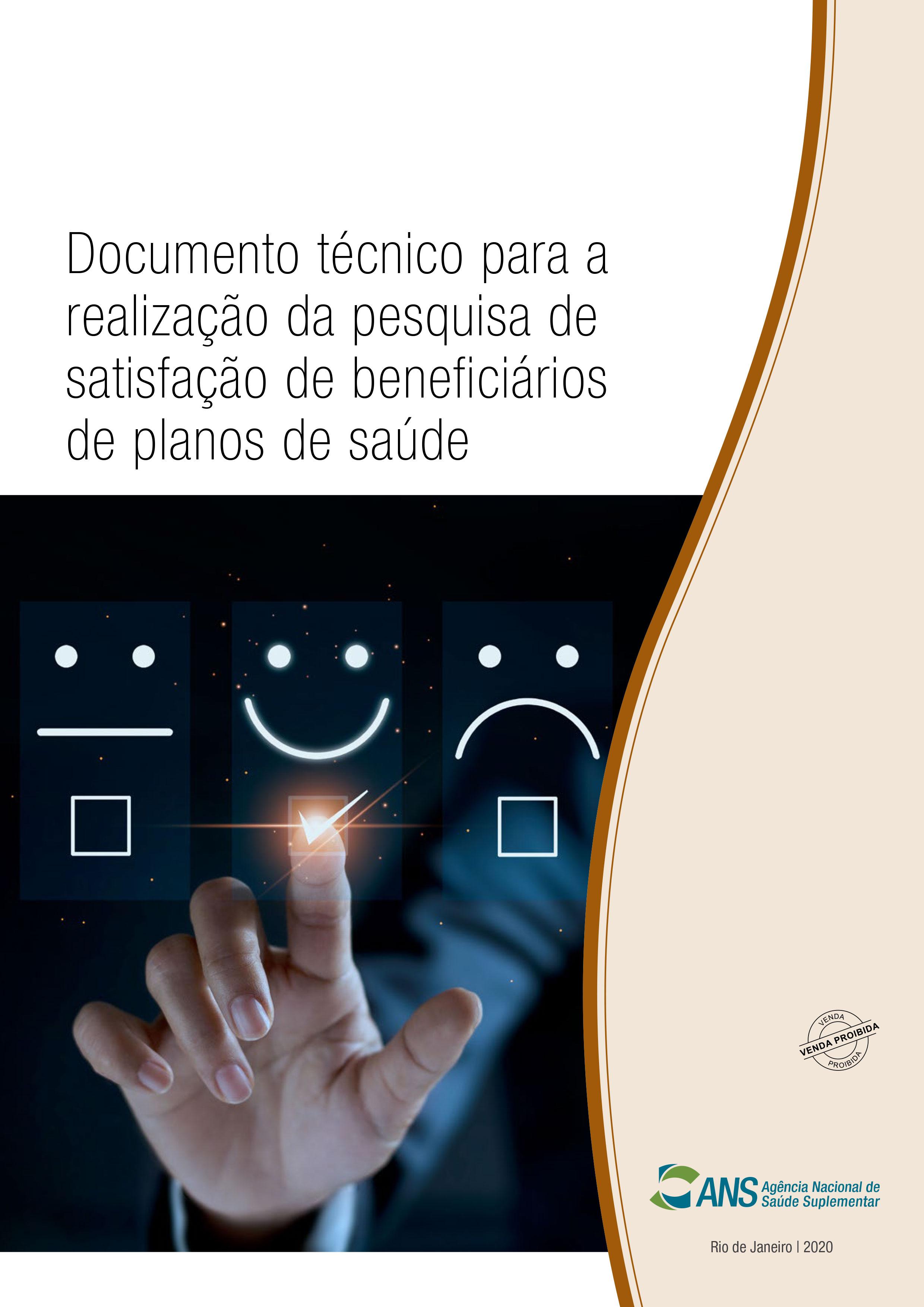 Imagem com link que mostra a capa do documento técnico para realização da pesquisa de satisfação de beneficiários de planos de saúde.