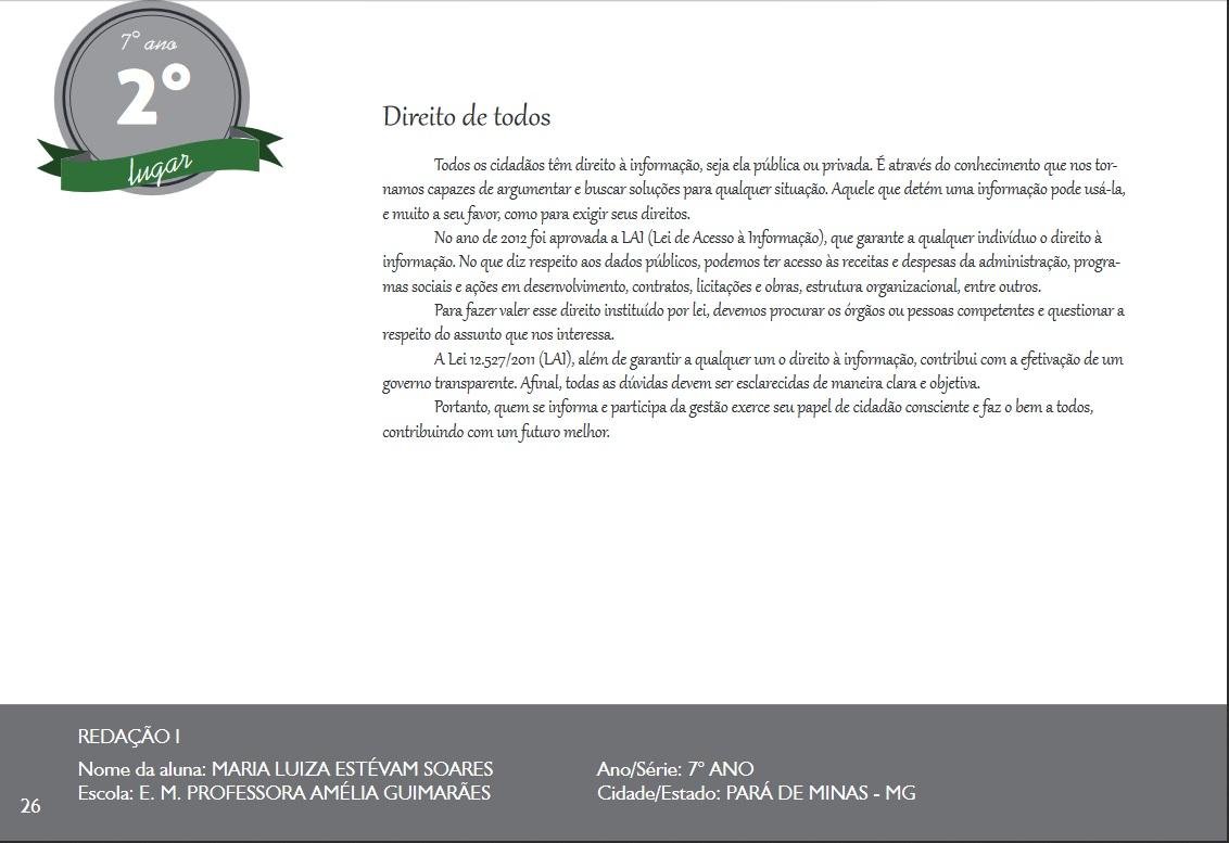 7°Ano Redação - MG