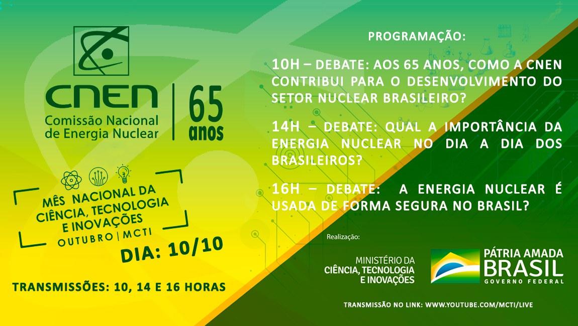 Dia 10 de outubro: programação virtual em comemoração ao aniversário da CNEN