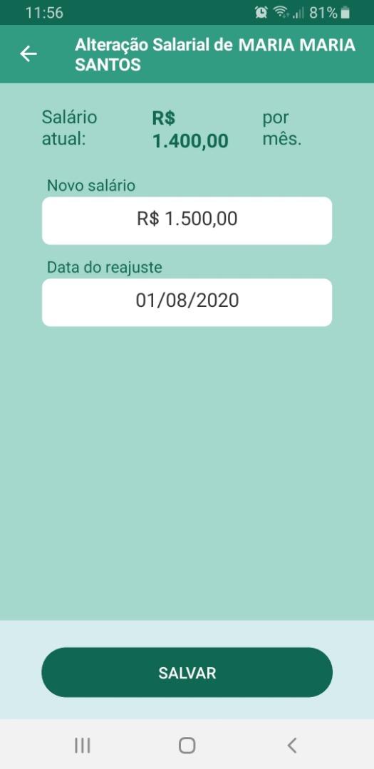 App Domestico - Reajustar Salario