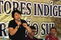 Azelene Inácio Kaingang durante o Primeiro Encontro de Agricultores Indigenas da Região Sul, dezembro de 2019