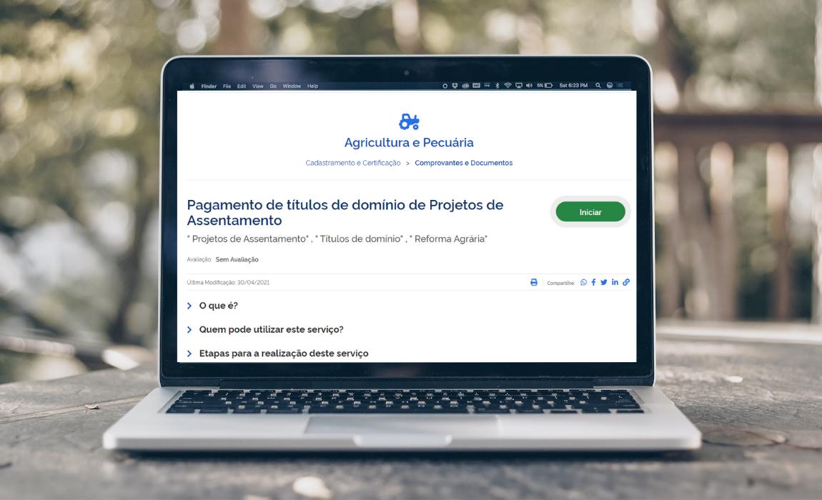 Emissão de guia para pagamento de títulos de assentamentos pode ser feita pela internet