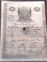 Documento emitido pela Junta de Crédito Nacional em 1827, no Peru.