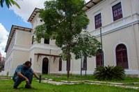 Instalação de isca externa na Casa do Conde de Santa Marinha, sede da superintendência do Iphan em Minas Gerais