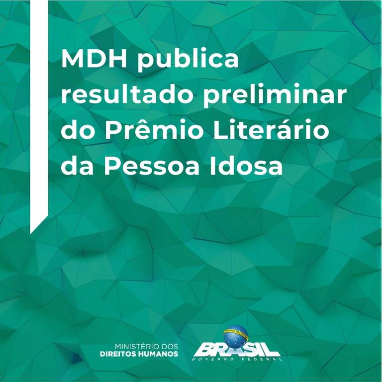 MDH publica resultado preliminar do Prêmio Literário da Pessoa Idosa