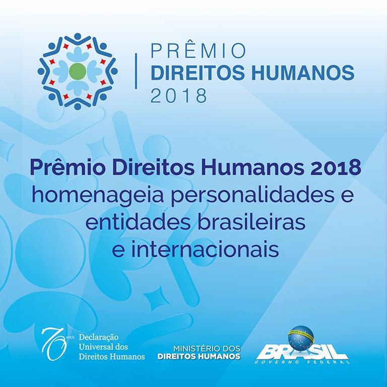 Prêmio Direitos Humanos 2018 homenageia personalidades e entidades brasileiras e internacionais