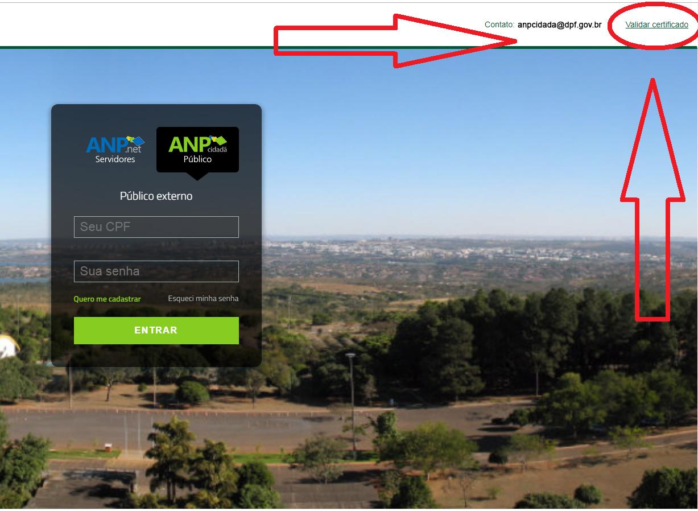 Print da tela de como validar certificado na ANP Cidadã.