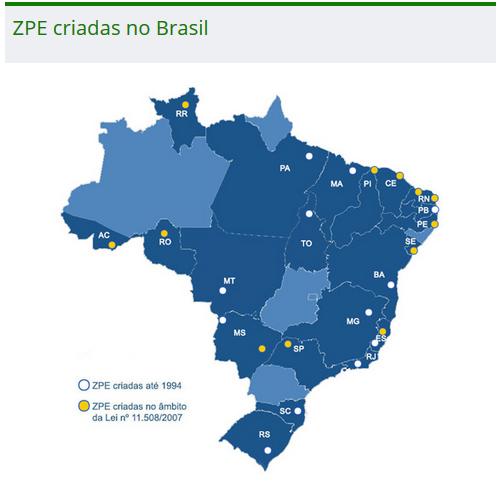 Mapa das ZPEs brasileiras