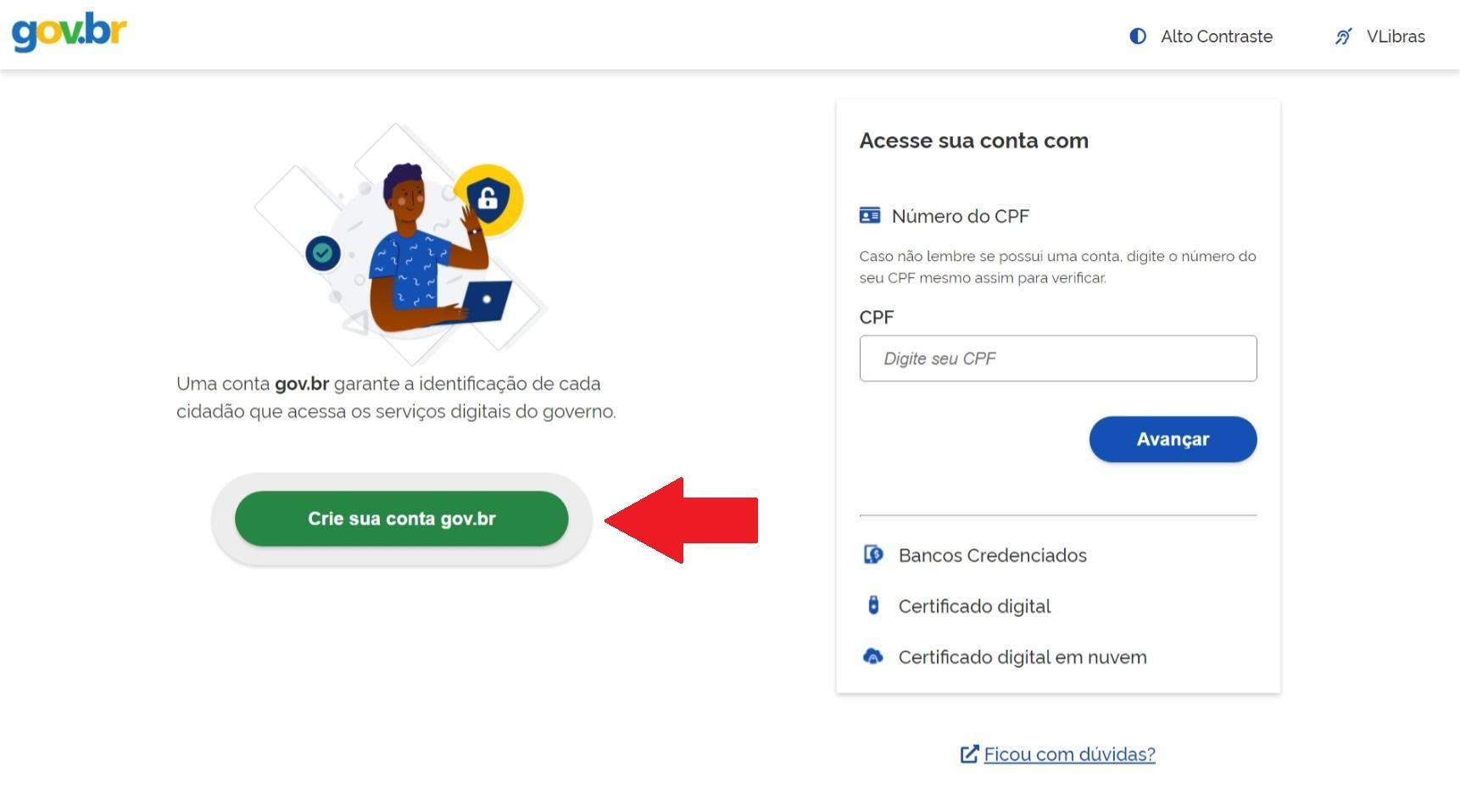 botão criar conta gov.br