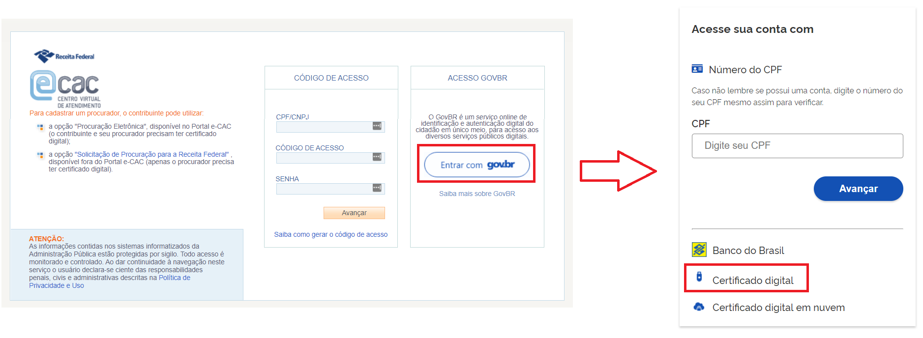 Portal e-CAC com acesso pelo Gov.br