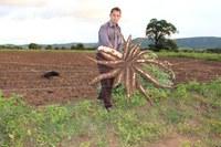 Produtor agrícola na plantação de mandioca em Goiás. Foto: Governo de Goiás